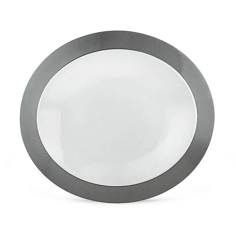 Porcelain Lenox Ubiquity Stone Oval Platter, Dinnerware Serving Pieces by Lenox
