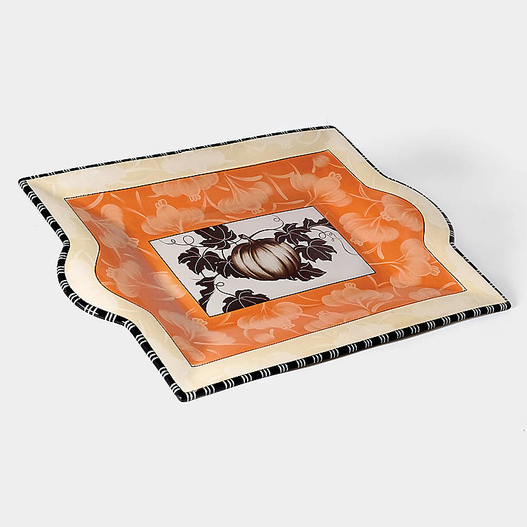 Ceramic Department 56 Pumpkin Rectangular Tray, Large, Dinnerware Serving Pieces by Lenox