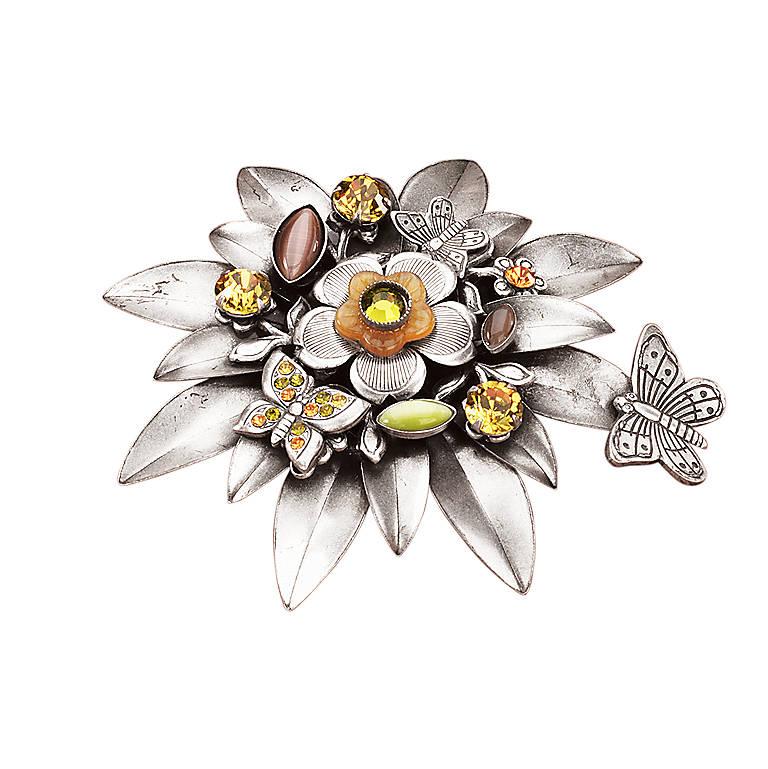 Metal La Contessa Floral Pin, Costume Jewelry by Lenox