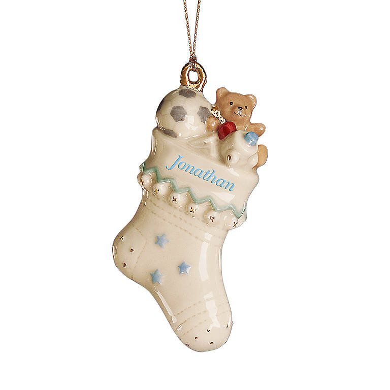 Ivory China A Star Is Born Personalized Boy Ornament by Lenox