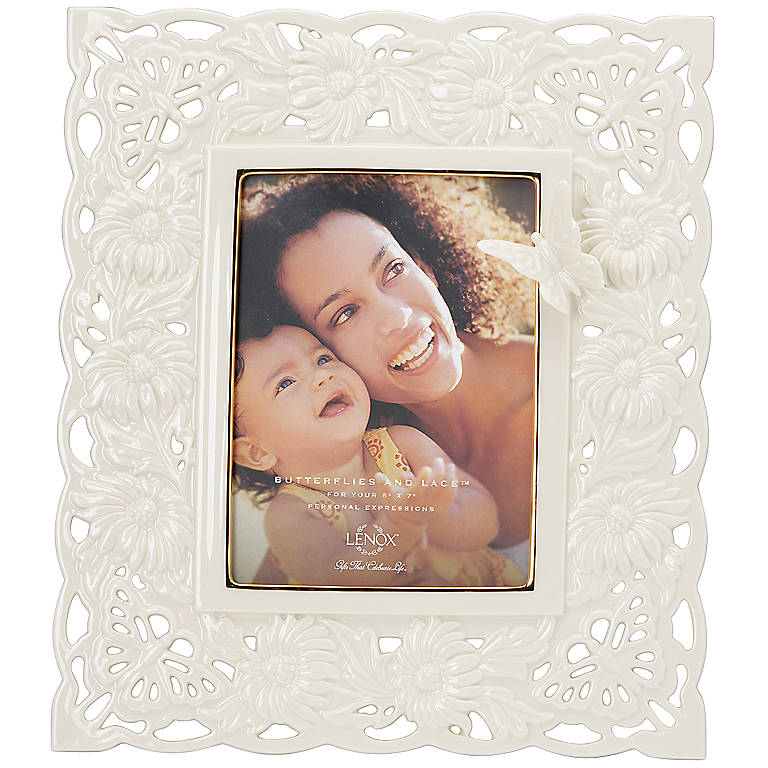 Ivory China Butterflies & Lace 5x7 Frame by Lenox, Home Decorating Picture Frames by Lenox
