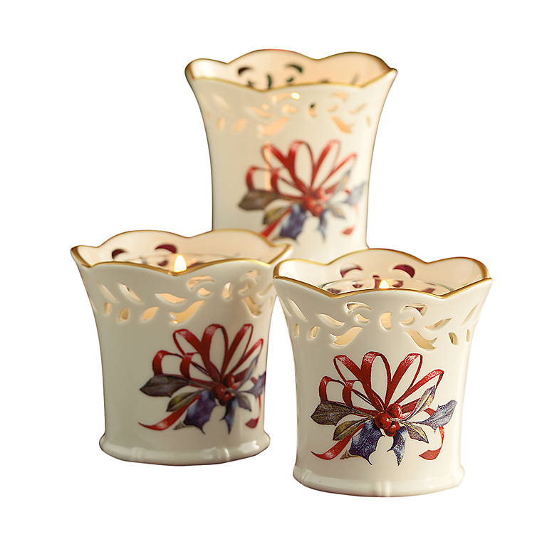 Porcelain Lenox Winter Greetings Pierced Votives, Set of 3, Home Decorating Candles by Lenox