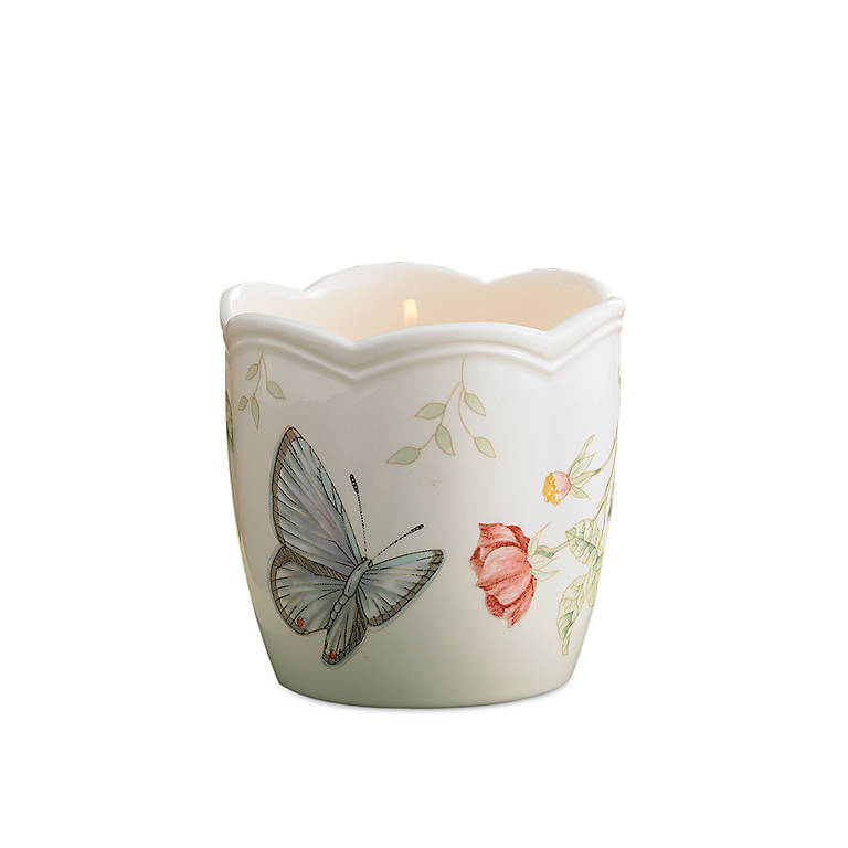 Porcelain Lenox Butterfly Meadow Votive, Home Decorating Candles by Lenox