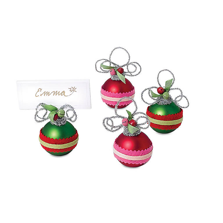 Tinsel Felt Band Ball Place Card Holders, Set of 4, Dinnerware Placecard Holders by Lenox