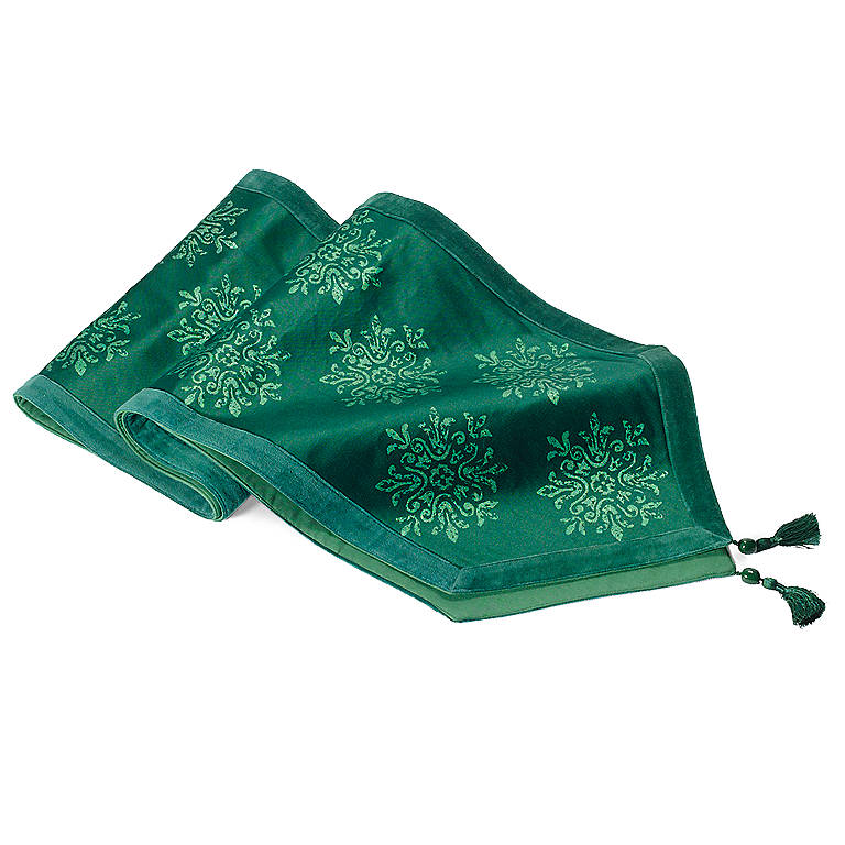 Fabric Green Holiday Runner, Dinnerware Linens by Lenox