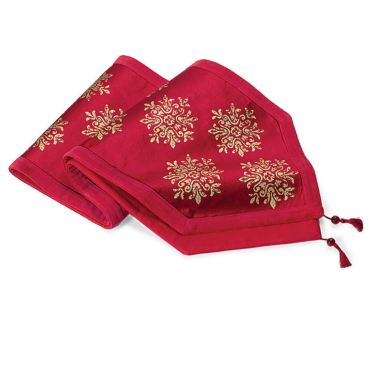 Fabric Red Holiday Runner, Dinnerware Linens by Lenox