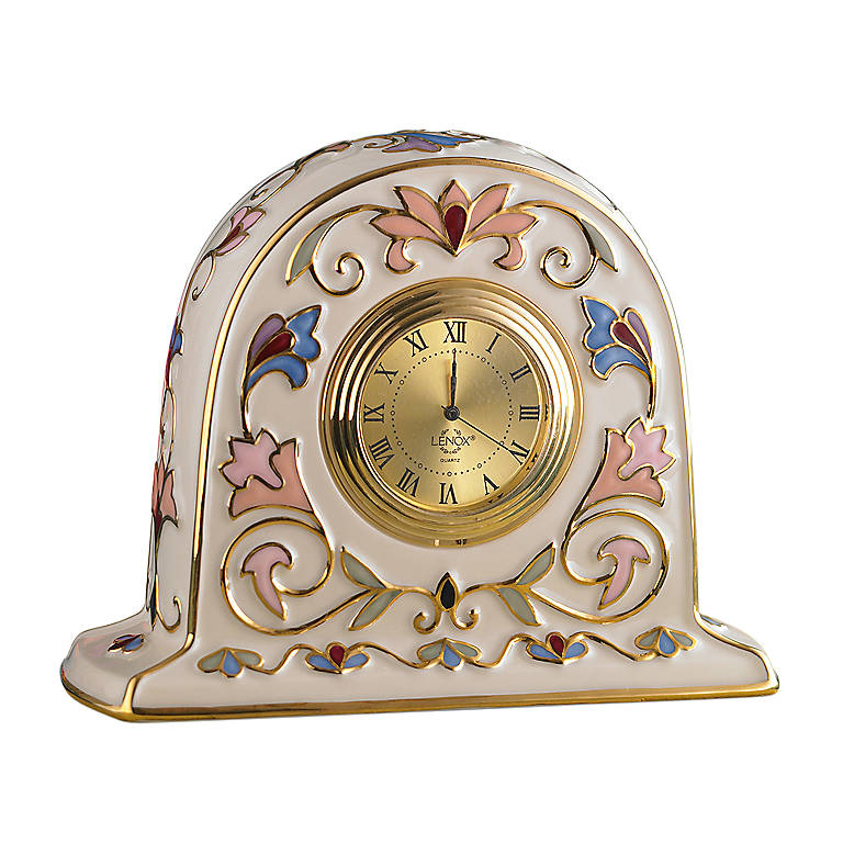 Porcelain Lenox Gilded Garden Clock, Home Decorating Clocks by Lenox