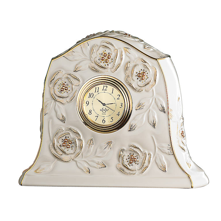 Porcelain Lenox Golden Roses Clock, Home Decorating Clocks by Lenox