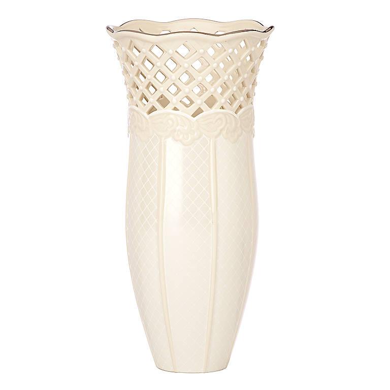 Ivory China Lenox Venetian Lace Large Vase, Home Decorating Vases by Lenox