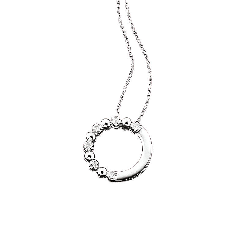 Gold Diamond Circle Pendant, White Gold, Costume Jewelry by Lenox