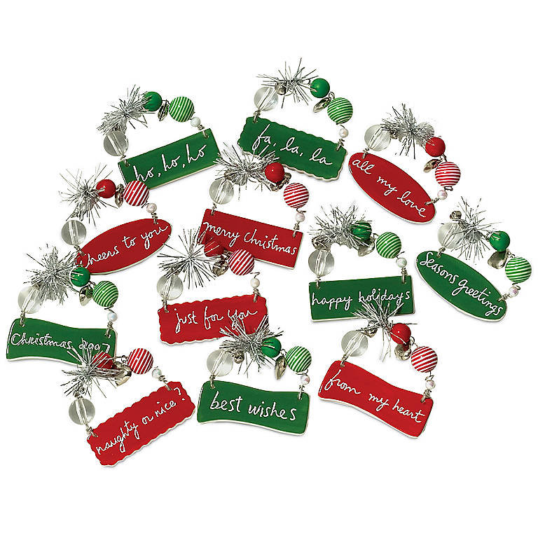 Ceramic Department 56 Snow Ho Ho Mini Tags, Set of 12, Stationery by Lenox
