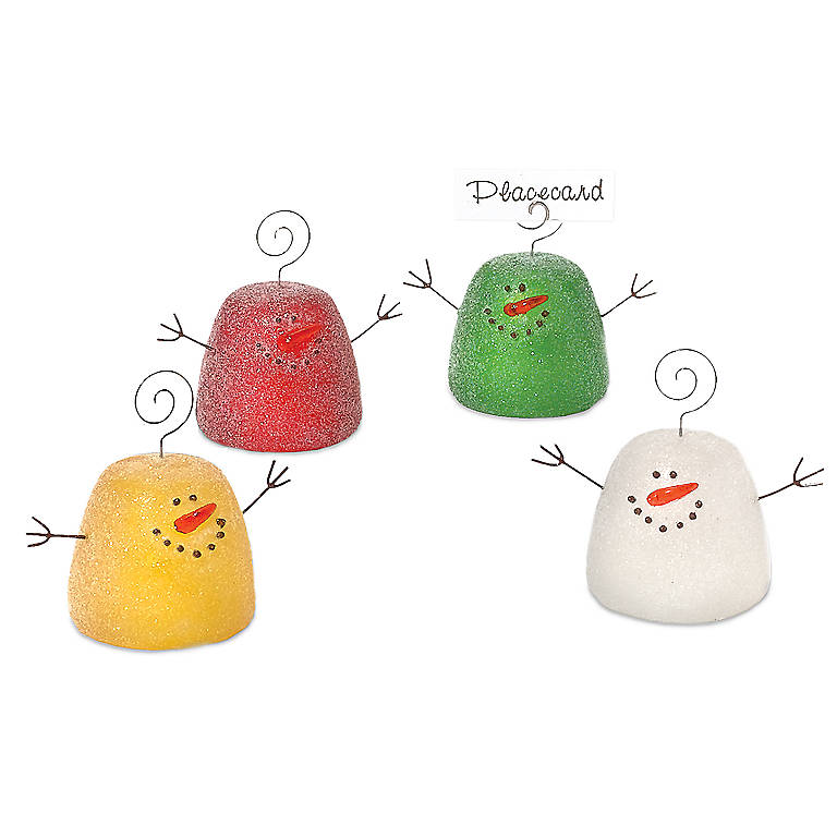 Acrylic Department 56 Gumdrop Snowman Place Card Holders, Set of 4, Dinnerware Placecard Holders by Lenox