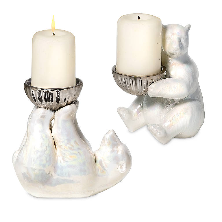 Ceramic Department 56 Polar Bear Votive Holders, Set of 2, Home Decorating Candles by Lenox