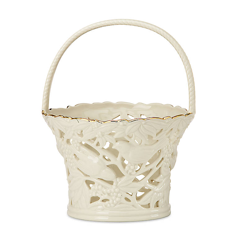 Ivory China Lenox Filigree Forest Basket, Home Decorating Baskets by Lenox