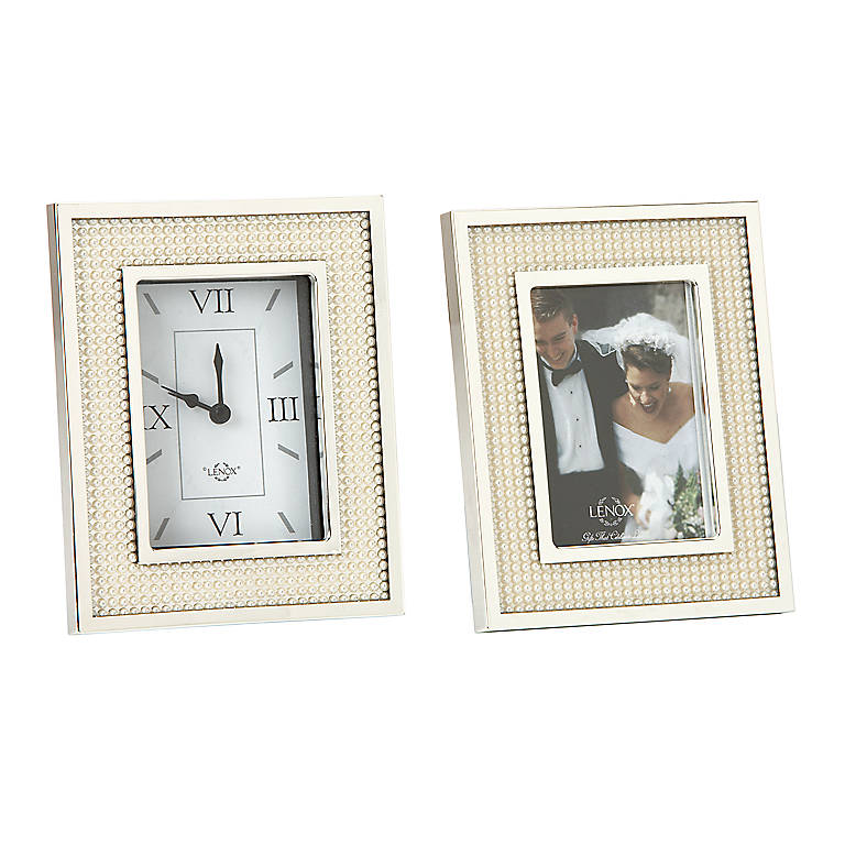 Silverplated Lenox Jubilee Pearl 2-piece Gift Set, Home Decorating Clocks by Lenox