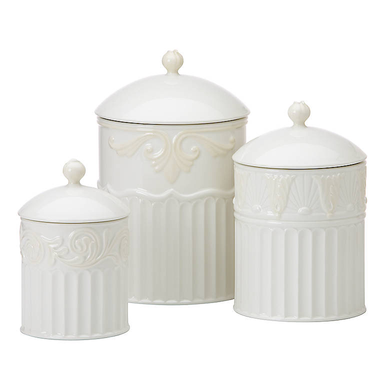 Earthenware Lenox Butler's Pantry Canisters, Set of 3, Dinnerware Serving Pieces by Lenox