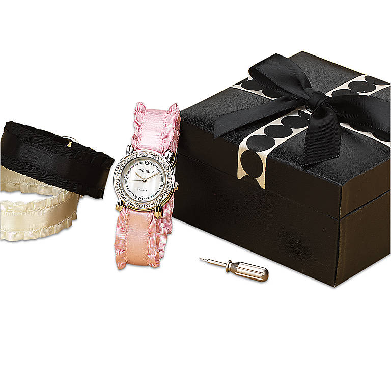Couture Interchangeable Ruffled Satin Watch Set, Women's Watches by Lenox