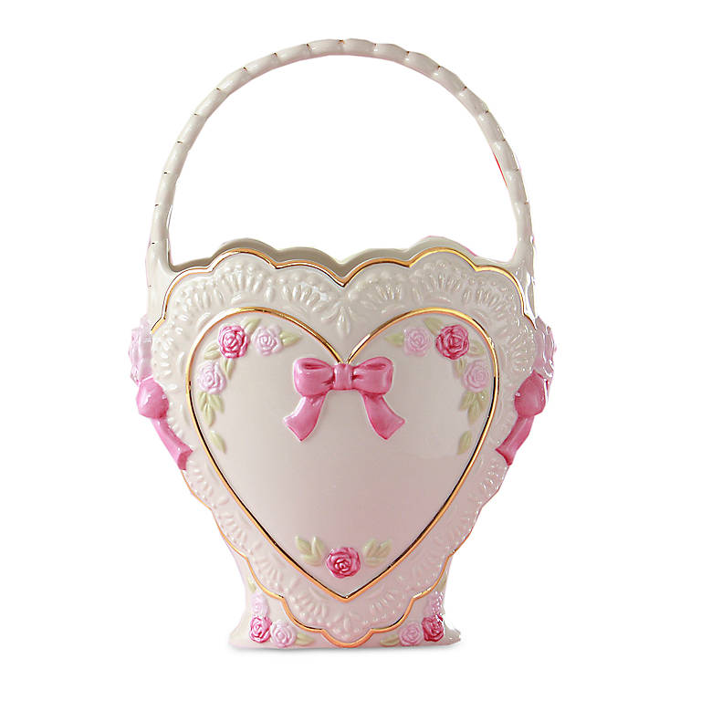 Ivory China Lenox Personalized Heart Valentine Basket, Home Decorating Baskets by Lenox