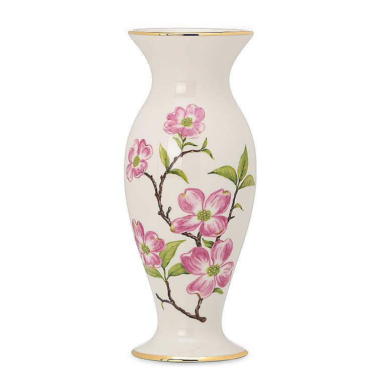 Ivory China Lenox Dogwood Vase, Home Decorating Vases by Lenox