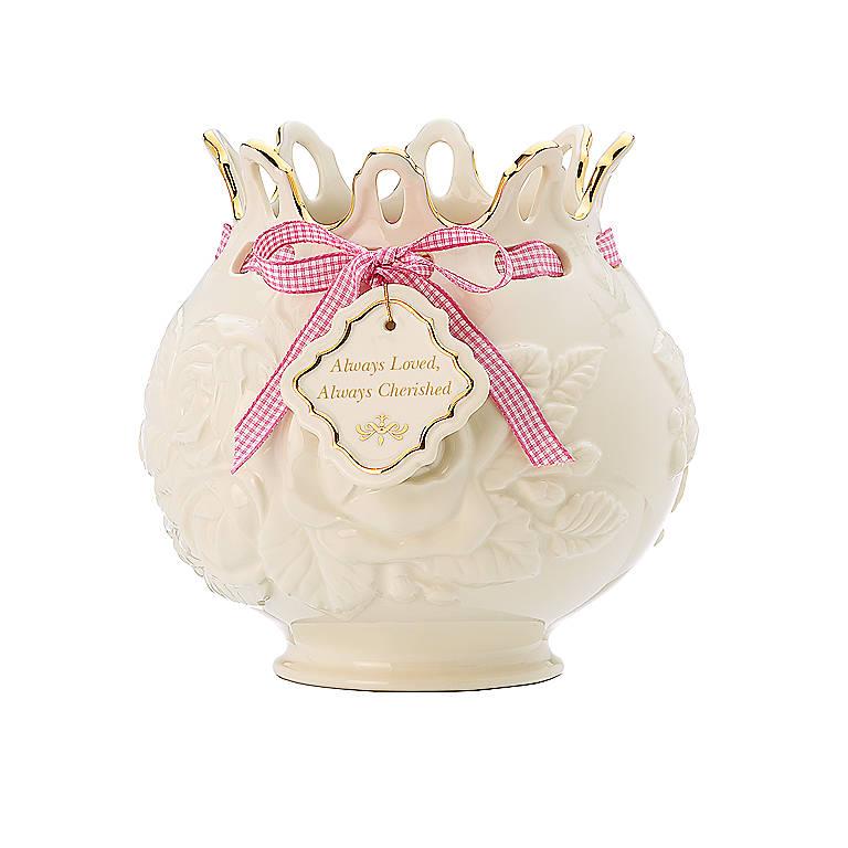 Porcelain Love Notes Cherished Rose Bowl Vase by Lenox, Home Decorating Vases by Lenox