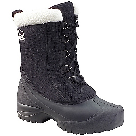Sorel Women's Cumberland Boot Black Sorel Women's Cumberland Boot - Black - in stock now. FEATURES of the Sorel Women's Cumberland Boot Upper: Durable water and wind resistant PU coated synthetic textile upper. Gusseted tongue keeps out debris and snow. Sherpa Pile snow cuff Insulation: 200g insulation Footbed: Removable EVA footbed Outsole: Injection molded waterproof thermal rubber shell with multi-directional lug outsole for enhanced traction