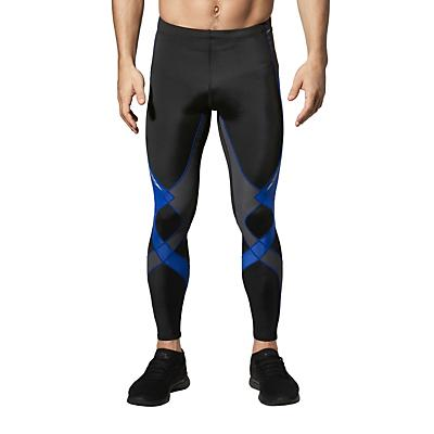 CW-X Mens Stabilyx Joint Support Compression Tights - Black / Grey / Blue Stitch