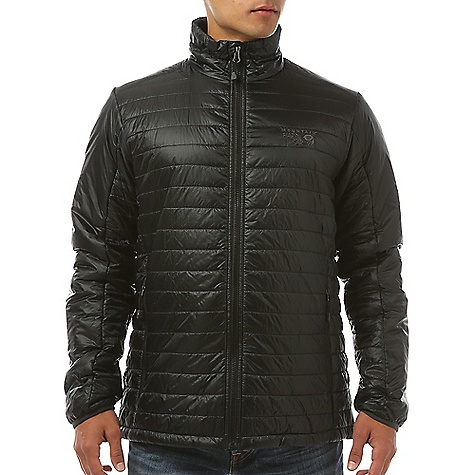 Mountain Hardwear Men's Thermostatic Jacket Black Mountain Hardwear Men's Thermostatic Jacket - Black - in stock now. FEATURES of the Mountain Hardwear Men's Thermostatic Jacket Two front handwarmer pockets Dual hem drawcords for quick fit adjustments Low profile elastic cuffs for easy layering Jacket stows in pocket