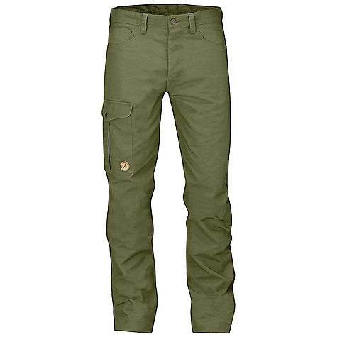 Fjallraven Men's Greenland Jeans Green Fjallraven Men's Greenland Jeans - Green - in stock now. FEATURES of the Fjallraven Men's Greenland Jeans Durable 5-pocket trousers in G-1000 HeavyDuty Leg pocket with internal phone pocket Leather details