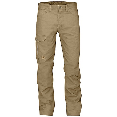 Fjallraven Men's Greenland Jeans Sand Fjallraven Men's Greenland Jeans - Sand - in stock now. FEATURES of the Fjallraven Men's Greenland Jeans Durable 5-pocket trousers in G-1000 HeavyDuty Leg pocket with internal phone pocket Leather details