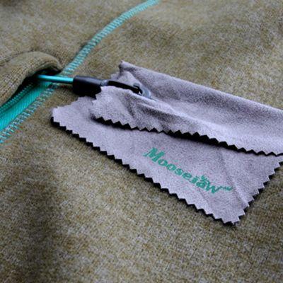 Hand pocket lanyard with custom Moosejaw chamois