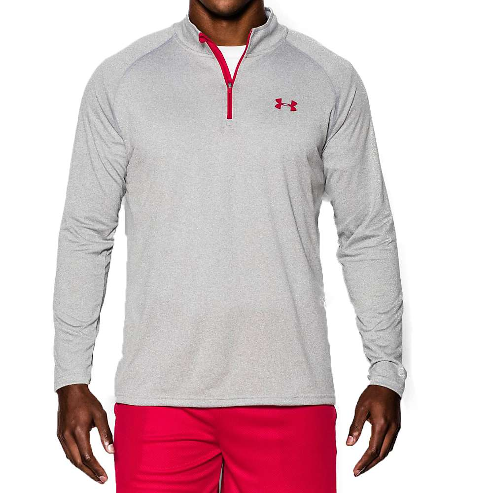 Under Armour Men's UA Tech 1/4 Zip Top - XL - True Gray Heather / Red / Red