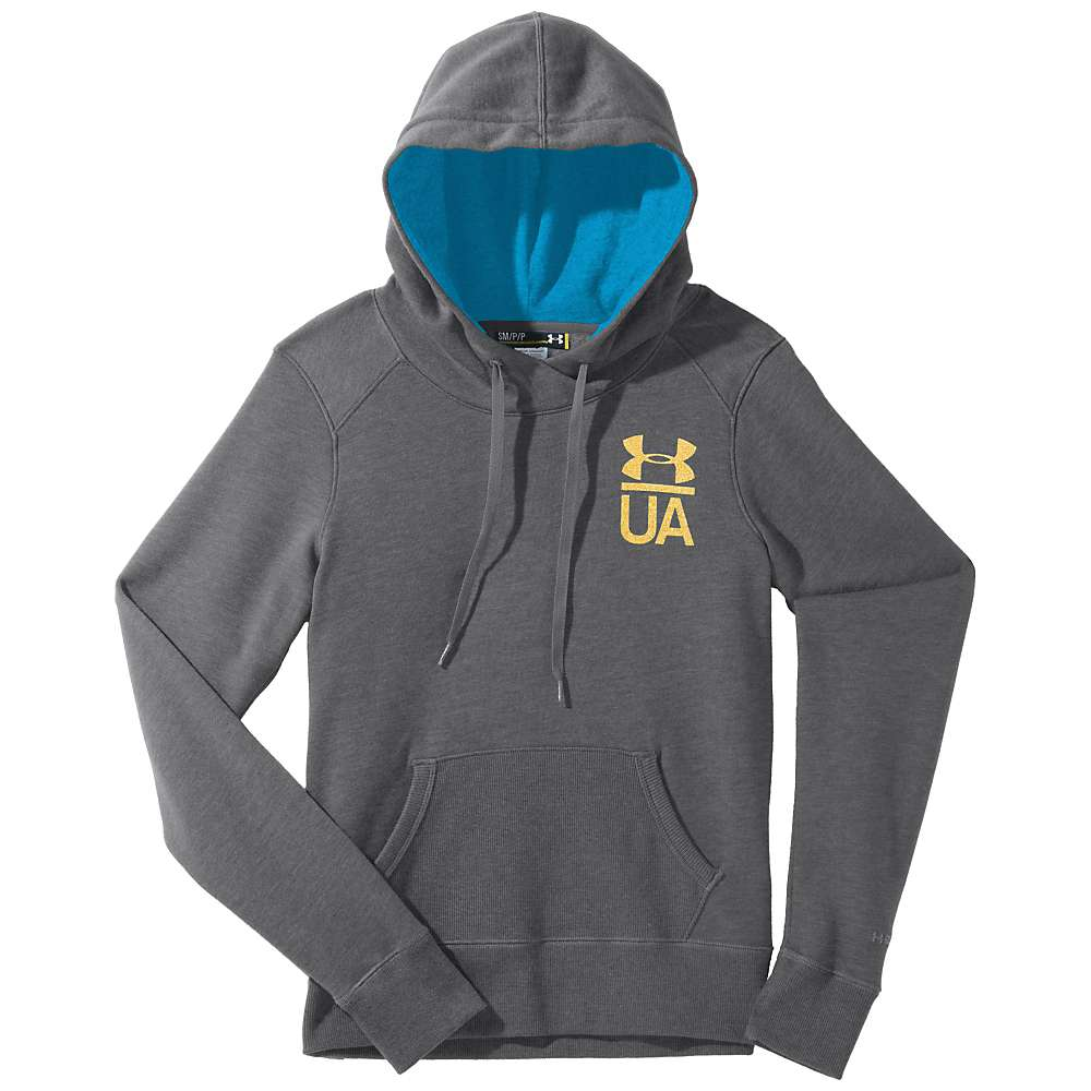 Under Armour Women's UA Charged Cotton Legacy Hoody - Small - Graphite / Pirate Blue / Metallic Gold
