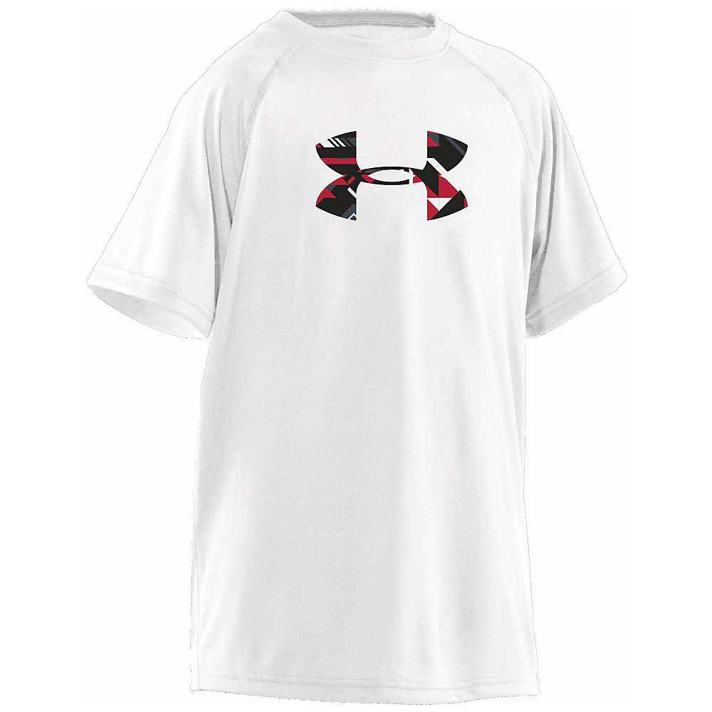 Under Armour Boys' UA Tech Big Logo SS Tee - XL - White / Black