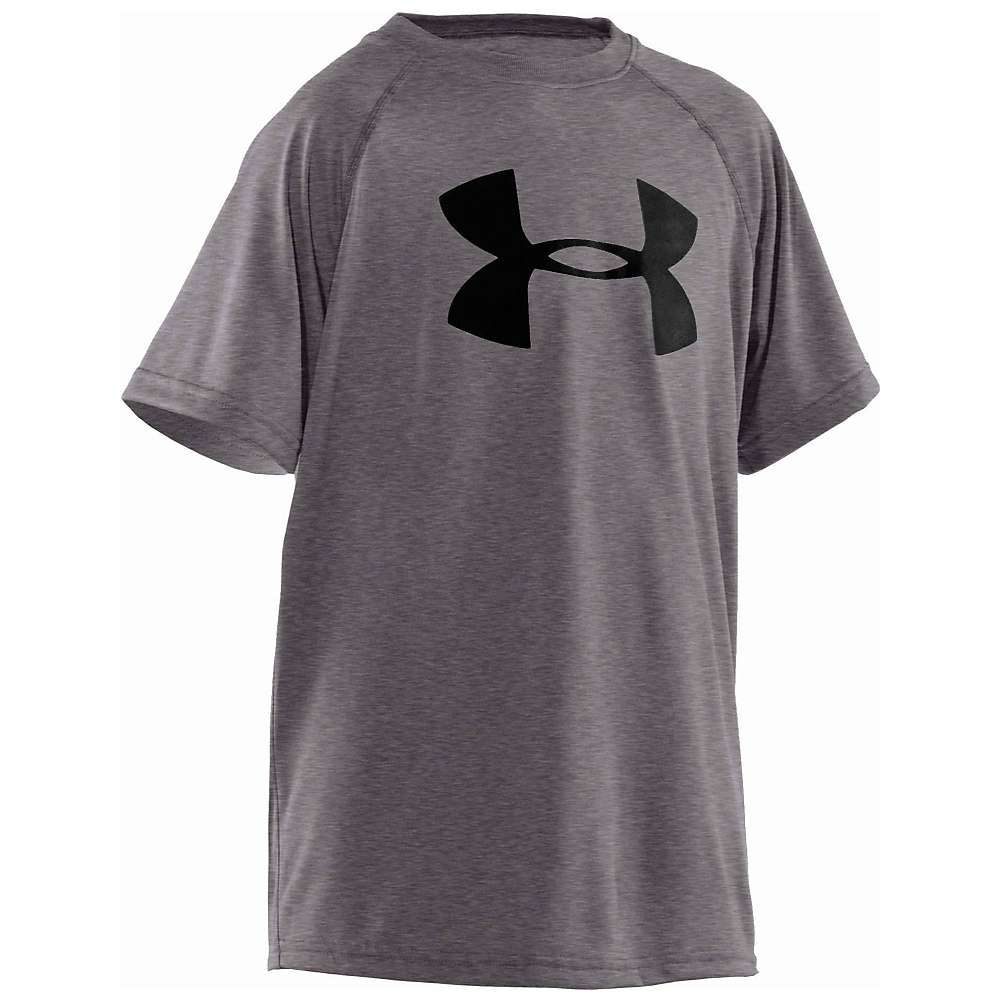 Under Armour Boys' UA Tech Big Logo SS Tee - XL - Carbon Heather / Black