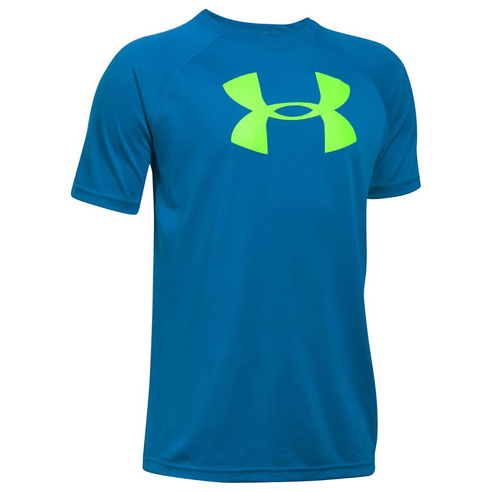 Under Armour Boys' UA Tech Big Logo SS Tee - Medium - Cruise Blue / Quirky Lime