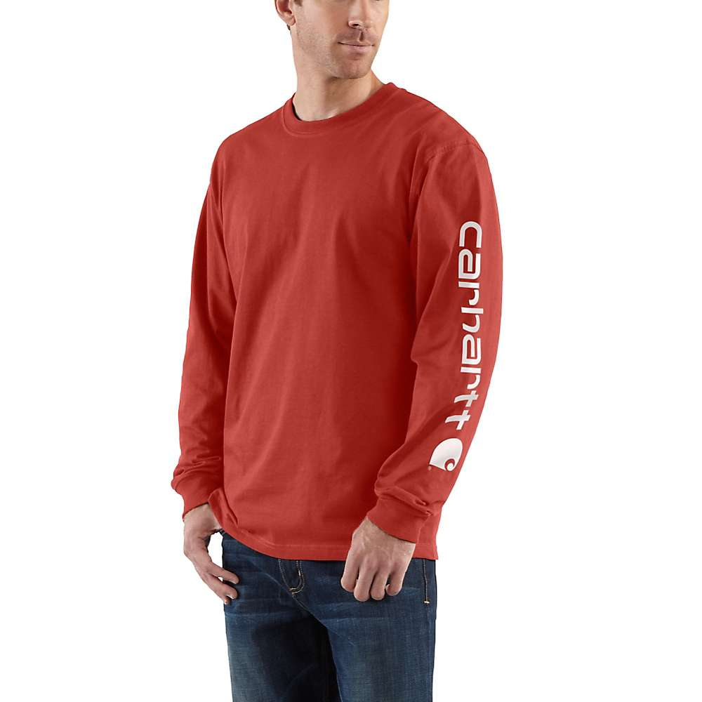 Carhartt Men's Signature Sleeve Long Sleeve T-Shirt - Medium Regular - Chili
