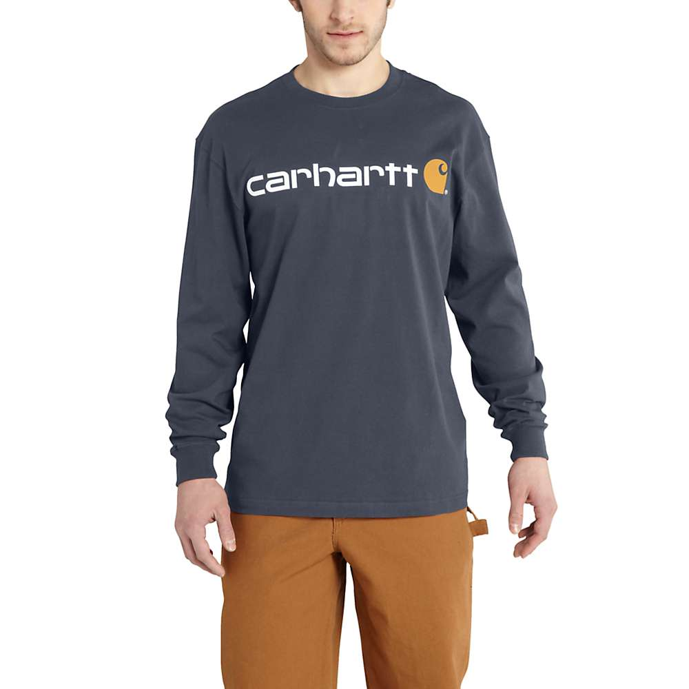 Carhartt Men's Signature Logo Long Sleeve T-Shirt - Medium Regular - Bluestone
