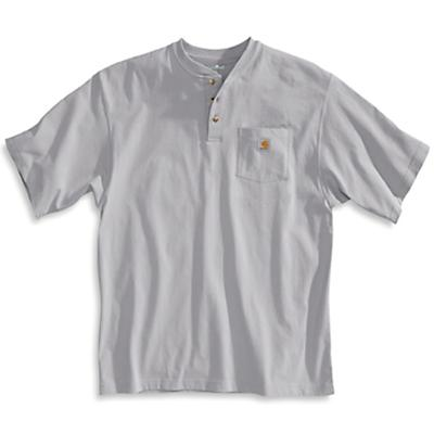 Carhartt Workwear Pocket SS Henley Top - Large Regular - Heather Grey - Men