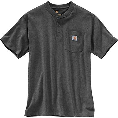 Carhartt Workwear Pocket SS Henley Top - Large Regular - Carbon Heather - Men