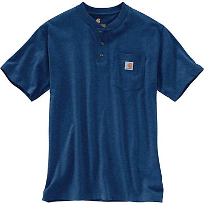 Carhartt Workwear Pocket SS Henley Top - Dark Cobalt Blue Heather - Men