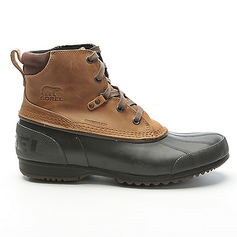 Sorel Men's Ankeny Boot Elk / Stout Sorel Men's Ankeny Boot - Elk / Stout - in stock now. FEATURES of the Sorel Men's Ankeny Boot Upper: Waterproof full-grain. Seam sealed waterproof construction. Textile mesh lining Footbed: Removable molded EVA footbed with heel cup and arch support, textile mesh topcover Midsole: Rubber Outsole: Waterproof vulcanized rubber shell with herringbone design