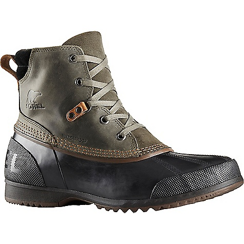 Sorel Men's Ankeny Boot Alpine Tundra / Black Sorel Men's Ankeny Boot - Alpine Tundra / Black - in stock now. FEATURES of the Sorel Men's Ankeny Boot Upper: Waterproof full-grain. Seam sealed waterproof construction. Textile mesh lining Footbed: Removable molded EVA footbed with heel cup and arch support, textile mesh topcover Midsole: Rubber Outsole: Waterproof vulcanized rubber shell with herringbone design