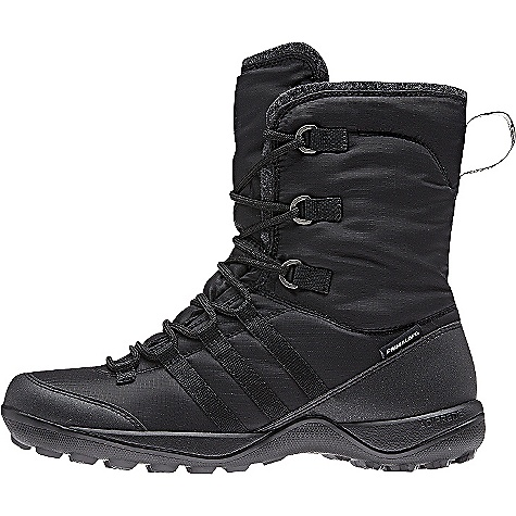 Adidas Women's Libria Pearl CP Primaloft Boot Black / Black / Black Adidas Women's Libria Pearl CP Primaloft Boot - Black / Black / Black - in stock now. FEATURES of the Adidas Women's Libria Pearl CP PrimaLoft Boot Upper: Climaproof membrane for waterproof protection in wet conditions PrimaLoft 200 g insulation material for more warmth, even in wet conditions Reinforced toe and heel cap for maximum protection and support Collar: Warm felt collar for comfort feeling Midsole: adiPRENE insert for comfort and shock absorption Outsole: Traxion strong profile for optimal grip in winter conditions