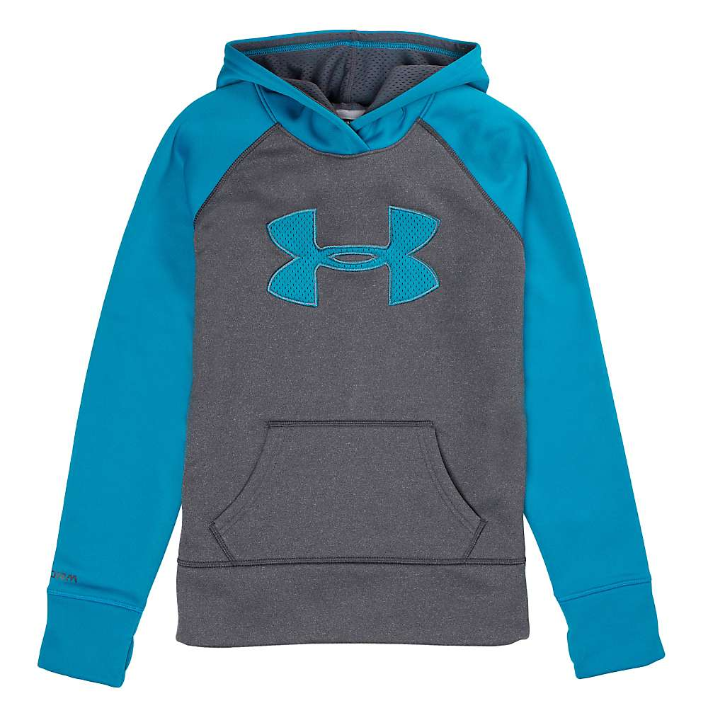Under Armour Girls' Armour Fleece Storm Big Logo 2.0 Hoody - Small - Carbon Heather / Teal Ice / Teal Ice