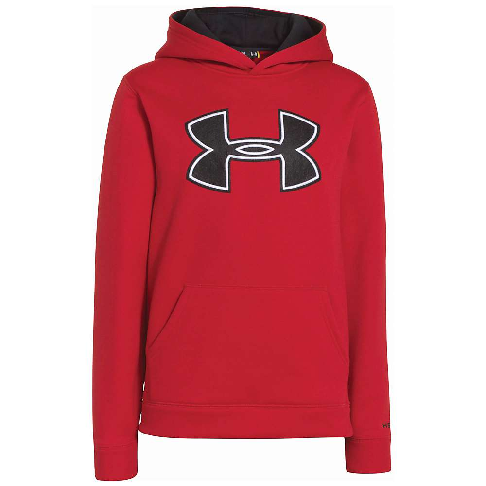 Under Armour Boys' UA Armour Fleece Storm Big Logo Hoody - XS - Red / Black