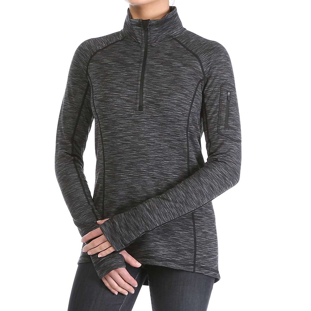 Moosejaw Women's Shelby 1/2 Zip Stretch Fleece - XXL - Black / Smoke Space Dye
