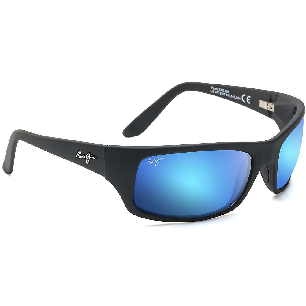 Maui Jim Peahi Polarized Sunglasses - One Size - Matte Black / Blue Hawaii