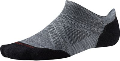 Smartwool PhD Run Light Elite Micro Sock - Large - Light Gray / Black