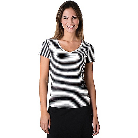 Toad & Co Women's Marley S/S Tee Smoke Stripe Toad & Co Women's Marley S/S Tee - Smoke Stripe - in stock now. FEATURES of the Toad & Co Women's Marley Short Sleeve Tee Open v-neck Toad & Co. is formerly Horny Toad, so you know it's legit.