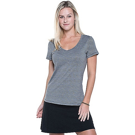 Toad & Co Women's Marley S/S Tee Smoke Lean Stripe Toad & Co Women's Marley S/S Tee - Smoke Lean Stripe - in stock now. FEATURES of the Toad & Co Women's Marley Short Sleeve Tee Open v-neck Toad & Co. is formerly Horny Toad, so you know it's legit.